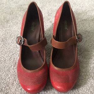 Red and brown NICOLE Mary Jane Heels